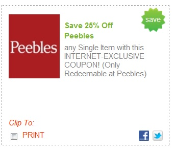 peebles printable coupons 25 any one item at peebles 23925 | peebles